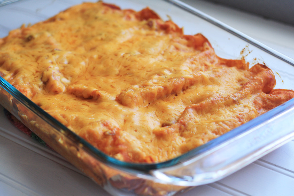 chicken enchiladas done in pan