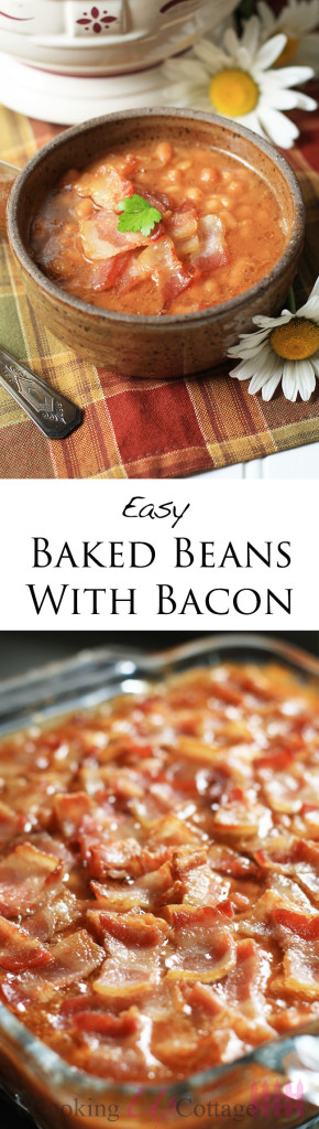 Baked beans with bacon long pin