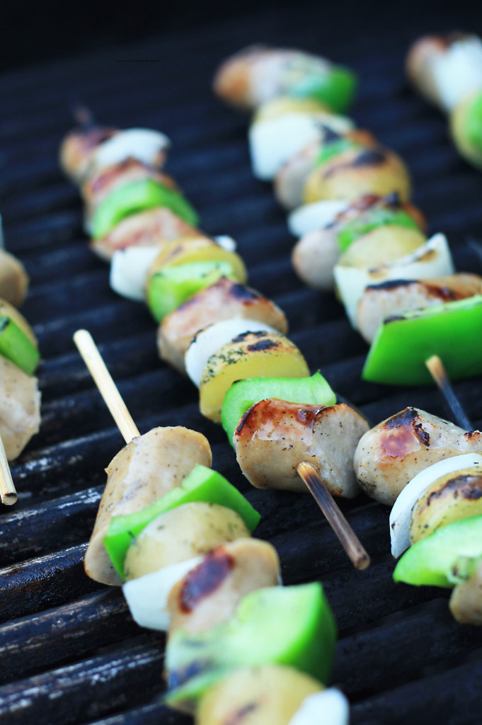 Bratwurst and Potato Kebabs 1
