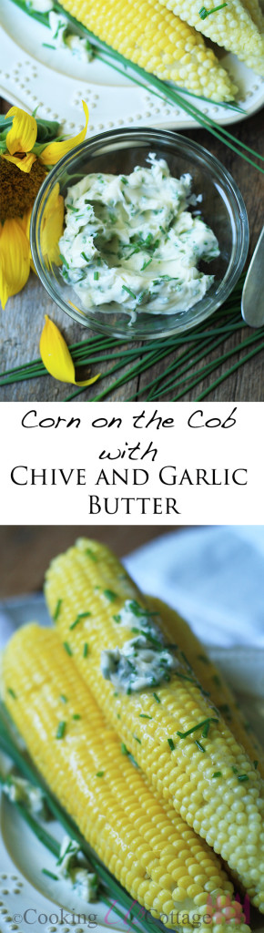 corn on the cob with chive and garlic butter long pin