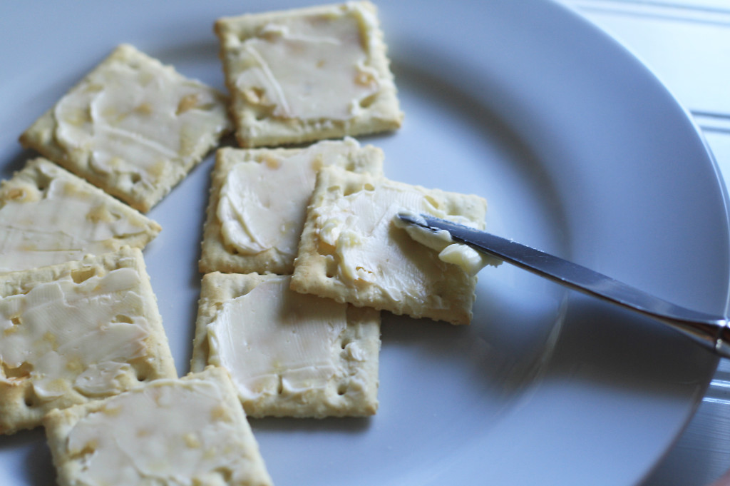 buttering crackers